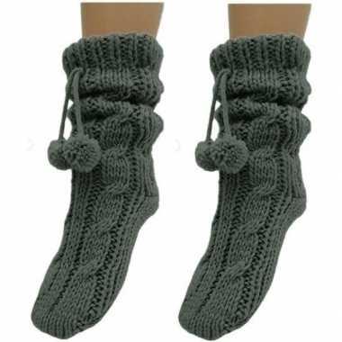 2 paar antraciet grijze huis antislip sokken /slof antislip sokken vo