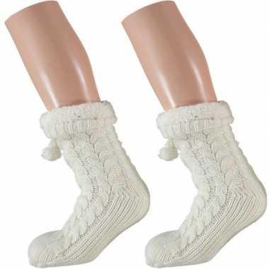 2 paar dames anti slip huis antislip sokken /slof antislip sokken wit