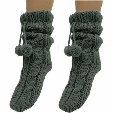 2 paar donkergrijze huis antislip sokken /slof antislip sokken voor d