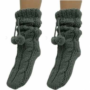 2 paar grijze huis antislip sokken /slof antislip sokken voor dames
