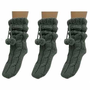 3 paar antraciet grijze huis antislip sokken /slof antislip sokken vo