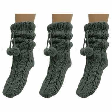 3 paar donkergrijze huis antislip sokken /slof antislip sokken voor d