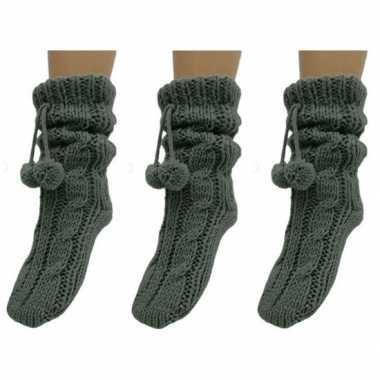 3 paar grijze huis antislip sokken /slof antislip sokken voor dames