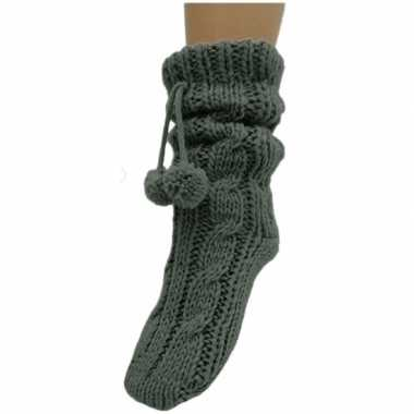 Antraciet grijze huis antislip sokken /slof antislip sokken voor dame