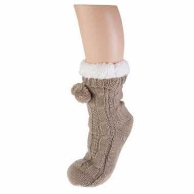 Beige huis antislip sokken voor dames