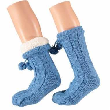 Blauwe huis antislip sokken voor dames