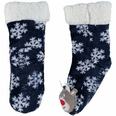 Blauwe warm gevoerde rendier kerst huis antislip sokken voor kinderen