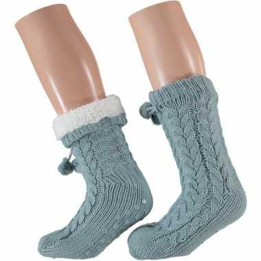 Dames anti slip huis antislip sokken /slof antislip sokken licht blau