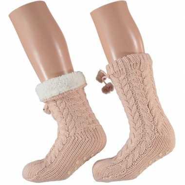 Dames anti slip huis antislip sokken /slof antislip sokken lichtroze