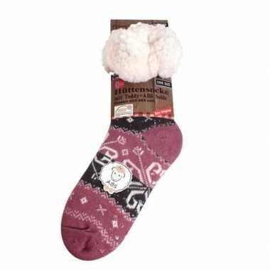 Dames anti slip huis antislip sokken /slof antislip sokken paars baro