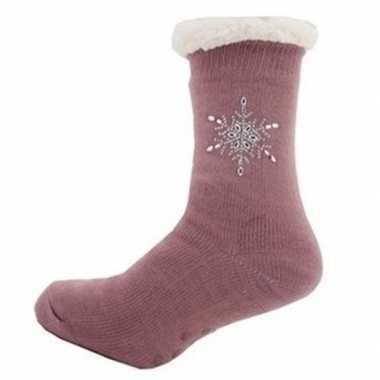 Dames anti slip huis antislip sokken /slof antislip sokken paars maat