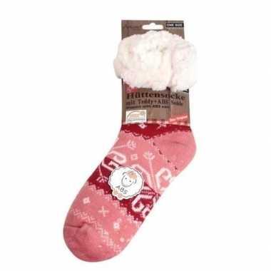 Dames anti slip huis antislip sokken /slof antislip sokken roze barok