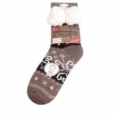 Dames anti slip huis antislip sokken /slof antislip sokken taupe baro