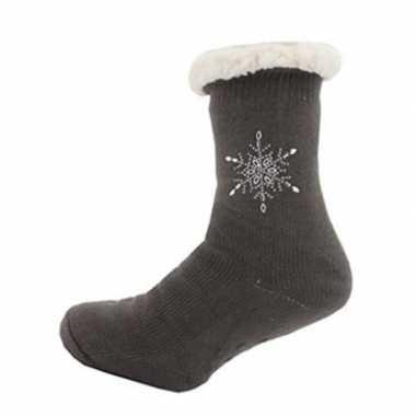 Dames anti slip huis antislip sokken /slof antislip sokken taupe maat
