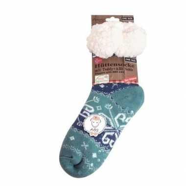 Dames anti slip huis antislip sokken /slof antislip sokken turquoise