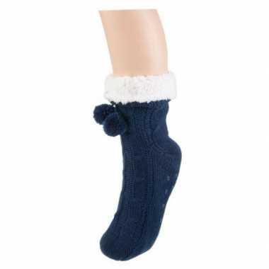 Donkerblauwe huis antislip sokken voor dames