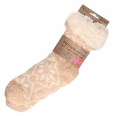 Gevoerde anti slip huis antislip sokken bruin