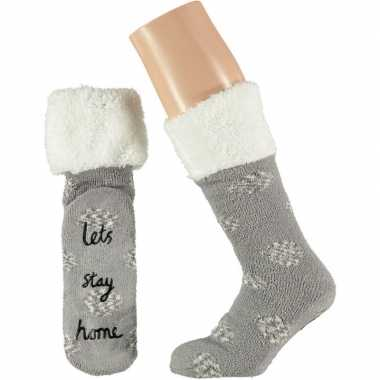 Grijze meisjes bed antislip sokken anti slip lets stay home maat 31 3