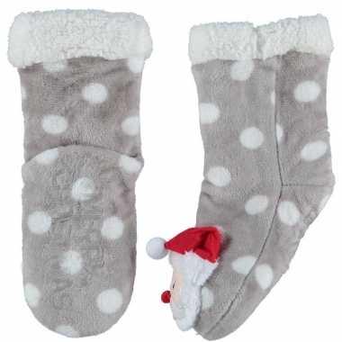 Grijze warm gevoerde kerstman kerst huis antislip sokken voor kindere