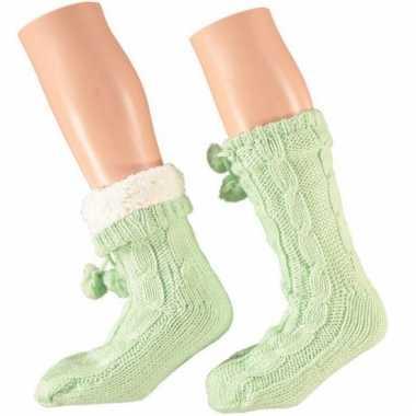 Groene huis antislip sokken voor dames