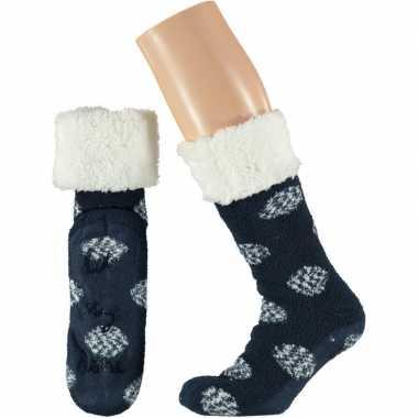 Navy meisjes bed antislip sokken anti slip lets stay home maat 25 30