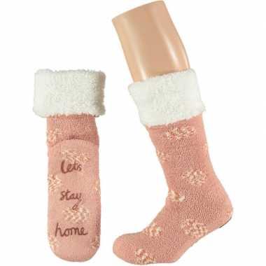 Roze meisjes bed antislip sokken anti slip lets stay home maat 20 24