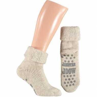 Wollen heren huis antislip sokken in het beige/wit