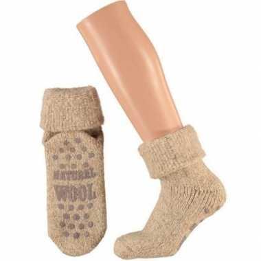 Wollen huis antislip sokken anti slip voor kinderen beige maat 31 34