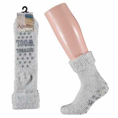 Wollen huis antislip sokken anti slip voor kinderen grijs maat 31 34