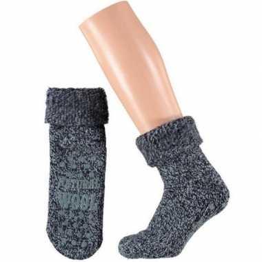 Wollen huis antislip sokken anti slip voor kinderen navy maat 23 26