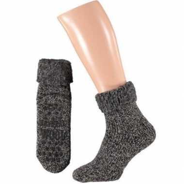 Wollen huis antislip sokken anti slip voor kinderen zwart maat 23 26