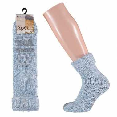 Wollen huis antislip sokken anti slip voor meisjes lichtblauw maat 27