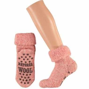 Wollen huis antislip sokken anti slip voor meisjes roze maat 27 30