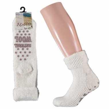 Wollen huis antislip sokken anti slip voor meisjes wit maat 31 34