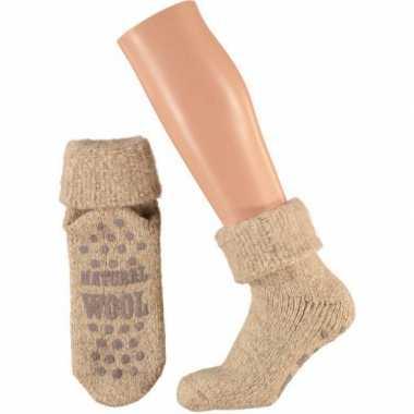 Wollen huis antislip sokken voor dames beige