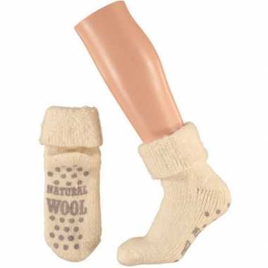 Wollen huis antislip sokken voor dames ecru