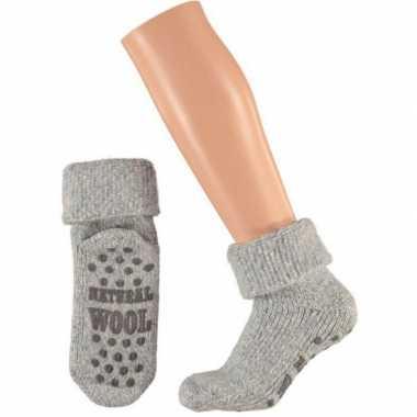 Wollen huis antislip sokken voor dames licht blauw