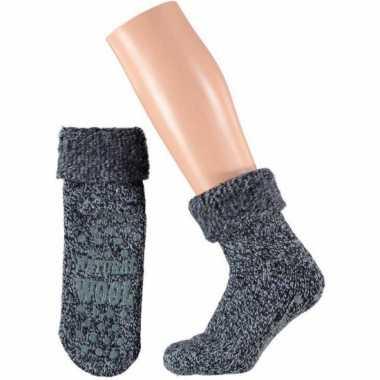 Wollen huis antislip sokken voor dames navy