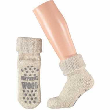 Wollen huis antislip sokken voor dames wit