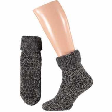 Wollen huis antislip sokken voor dames zwart