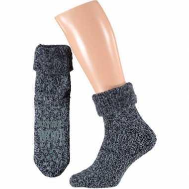 Wollen huis antislip sokken voor mannen navy