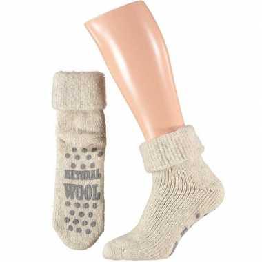 Wollen huis antislip sokken voor mannen wit mt 39 42