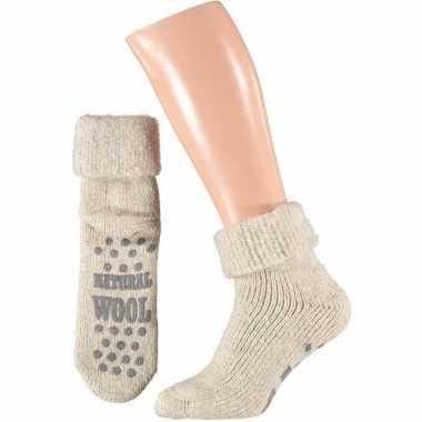 Wollen huis antislip sokken voor mannen wit mt 43 46