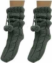 2 paar antraciet grijze huis antislip sokken slof antislip sokken voor dames